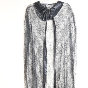 Spiderweb Cape Lace Hooded Sheer Black Halloween